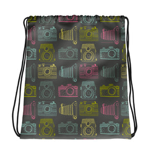 New Meets Old Pastel on Grey Camera Pattern Drawstring bag