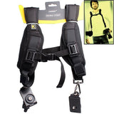 Black Soft Quick Double Camera Sling Neck Shoulder Belt Strap For All SLR DSLR Cameras