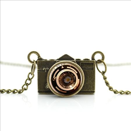 Bronze Camera Pendant Jewelry Glass Photographer Necklace
