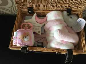 LOVE YOU TO THE MOON BABY GIFTED  BASKET