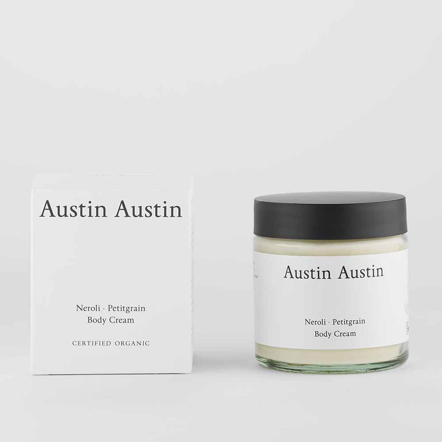 Austin Austin Neroli And Petitgrain Body Cream with box set against white background