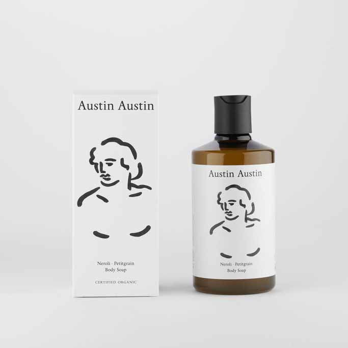 Austin Austin Neroli And Petitgrain Body Soap with box set against plain background
