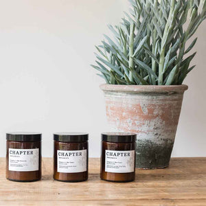 The entire Chapter Organics Candle Range