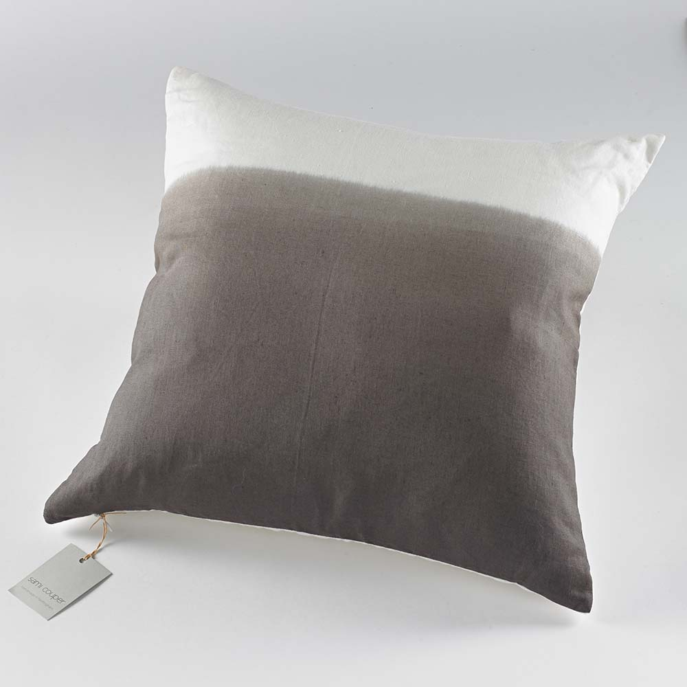 Charcoal Linen Ombre Cushion Front