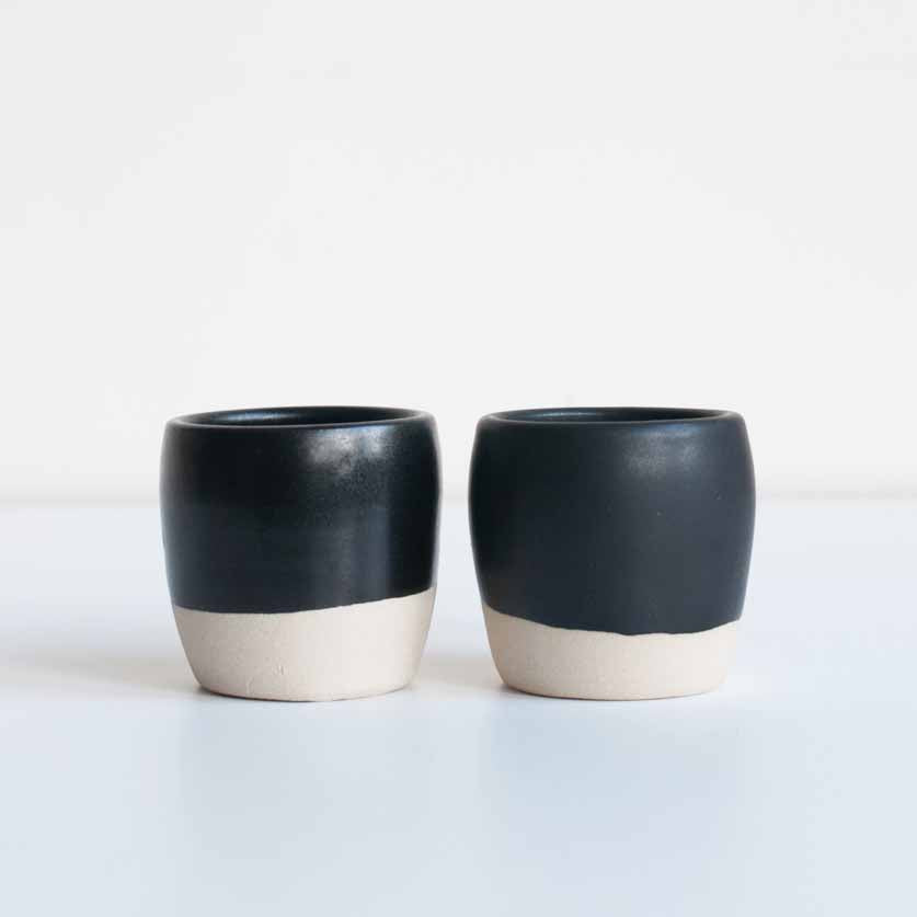 Dor & Tan Two Espresso Cups in Matte Black