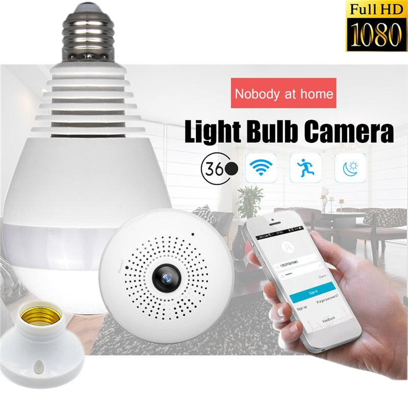 360 degree Wireless IR Camera Bulb Light Smart Home CCTV Security WiFi  Camera