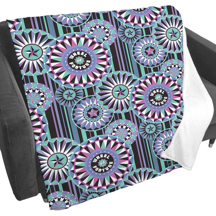 Wheel of Fortune Bob Mackie Blue Wheel Fleece Blanket