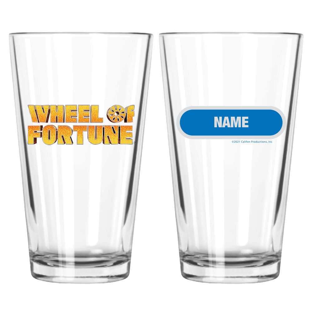 Wheel of Fortune Gold Logo Personalized Pint Glass