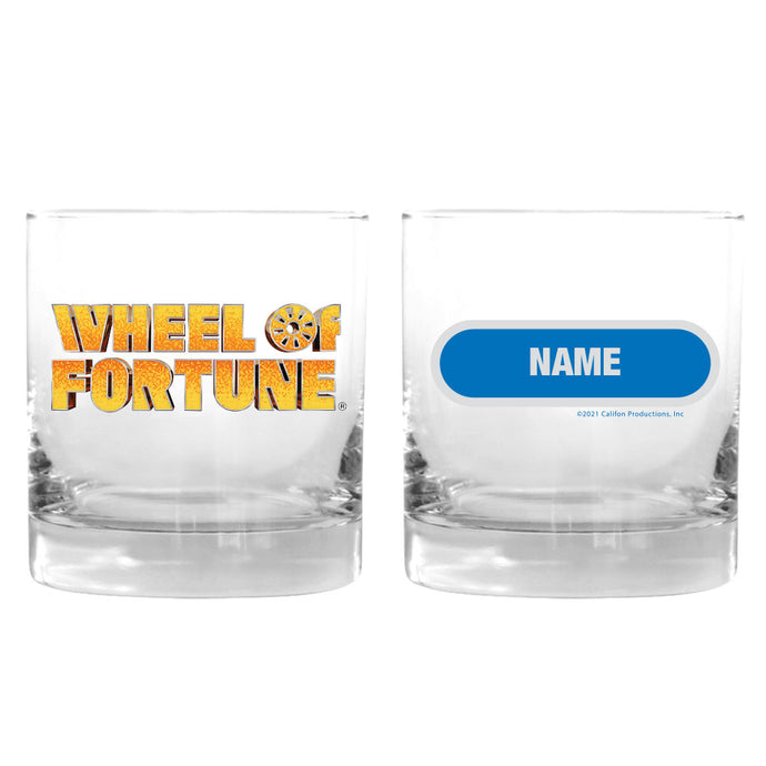 Wheel of Fortune Gold Logo Personalized Rocks Glass