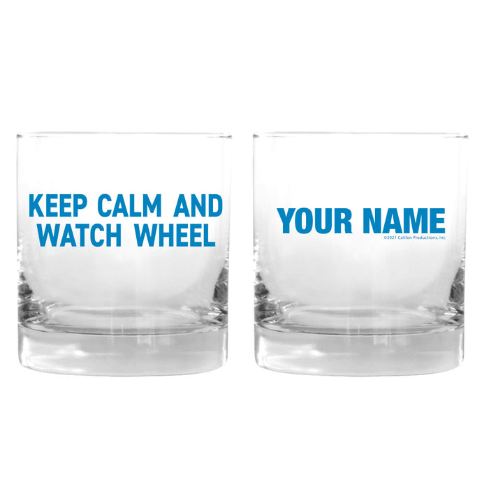 Keep Calm and Watch Wheel Personalized Rocks Glass