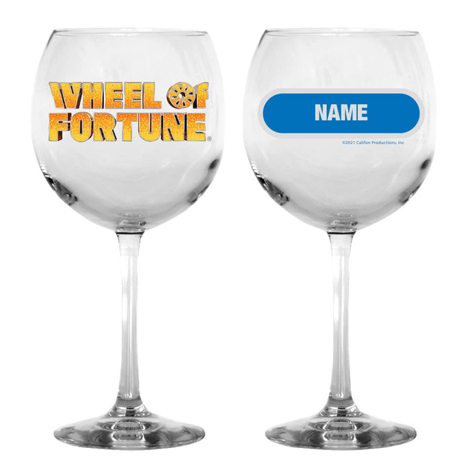 Wheel of Fortune Gold Logo Personalized Wine Glass