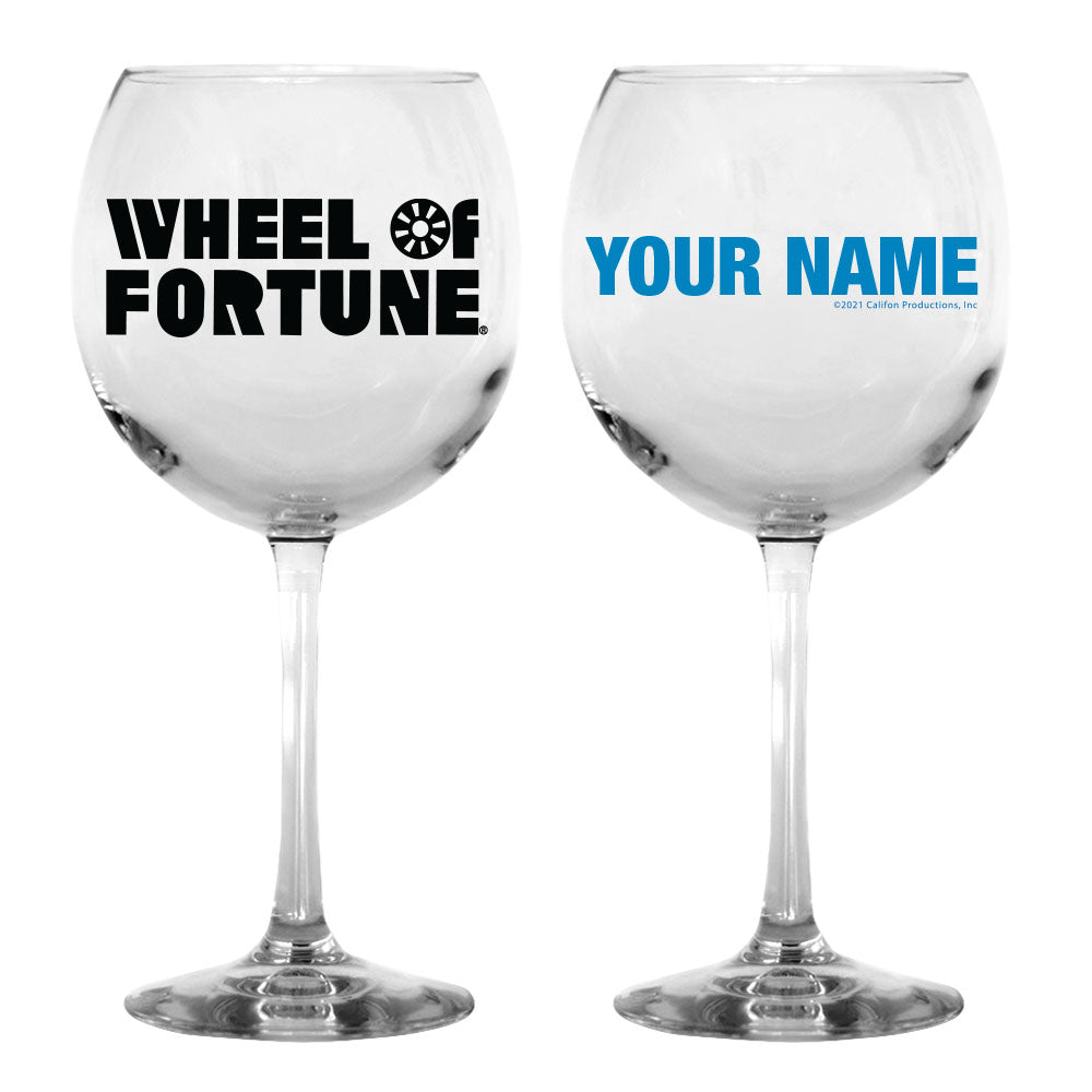 Wheel of Fortune Logo Personalized Wine Glass