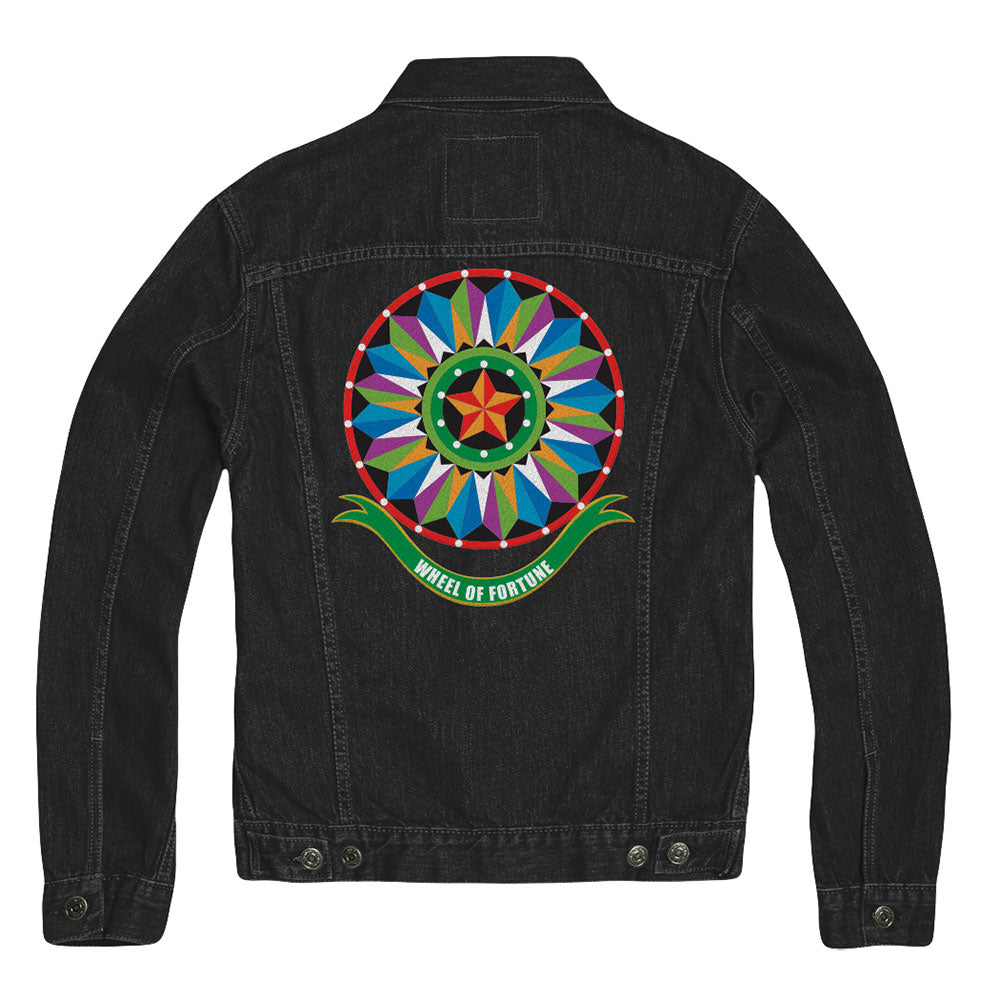 Wheel of Fortune Bob Mackie Multi Wheel Black Denim Jacket