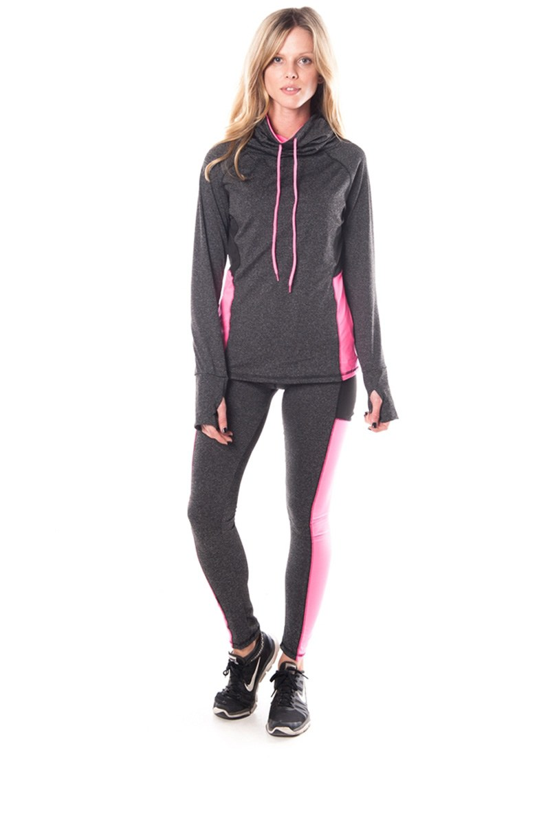 Ladies fashion womens active sport yoga / zumba 2 pc set with pull over jacket & leggings