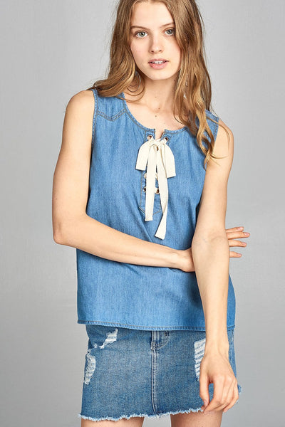 Ladies fashion sleeveless front lace up detail chambray top