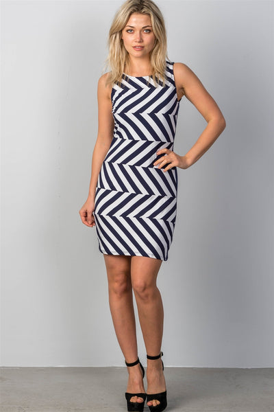 Ladies fashion white & navy striped bodycon mini dress