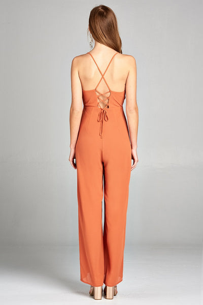 Ladies fashion plunging v-neck w/cami strap woven jumpsuit