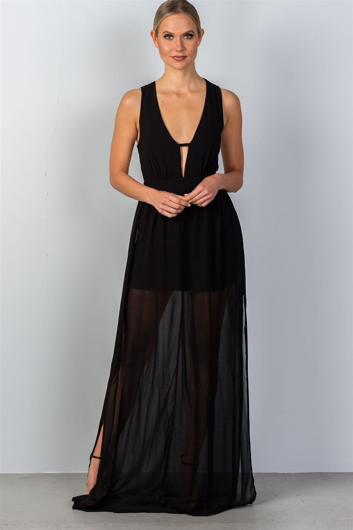 Ladies fashion black cut-out side slits maxi dress