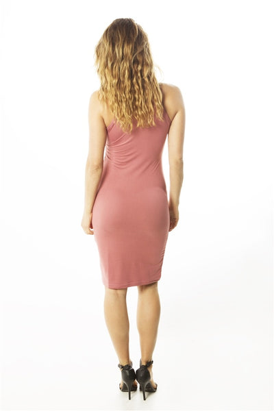 Ladies fashion  soft knit bodycon sleeveless knee length tank midi dress