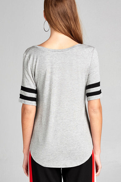 Ladies fashion short double stripe sleeve v-neck rayon spandex top