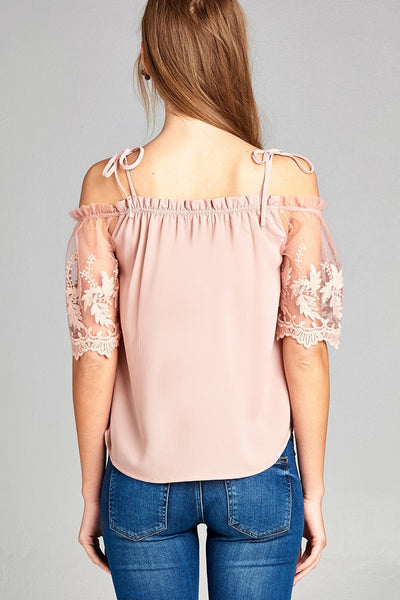 Ladies fashion scallop lace sleeve open shoulder w/tie strap crepe woven top