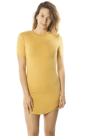 Ladies fashion  soft knit short sleeve tshirt dress