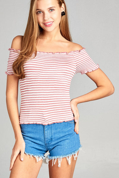 Ladies fashion short sleeve off the shoulder smocked detail stripe crop rayon spandex top