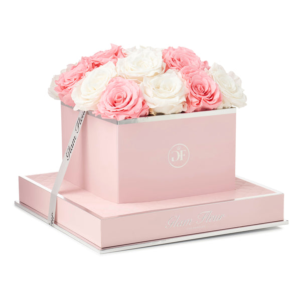 Light Pink and Ivory Rosè Square Luxury Preserved Roses