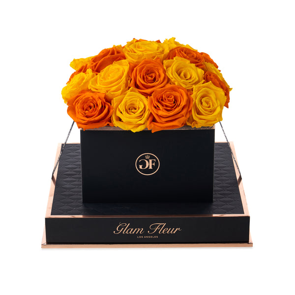 Noir Square Yellow and Orange Luxury Preserved Roses