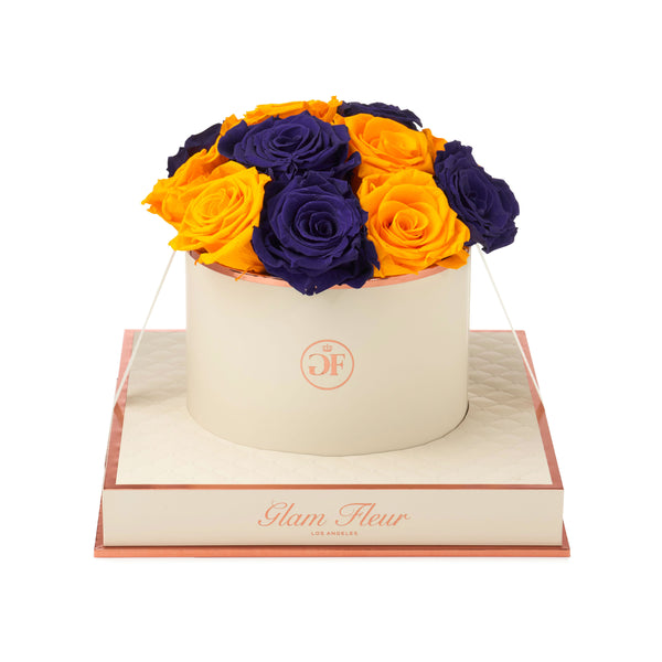 Bella Orange and Dark Purple Montage Round Luxury Preserved Roses