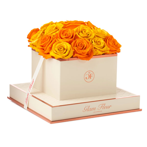 Golden Yellow and Orange Montage Square Luxury Preserved Roses