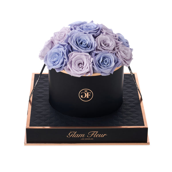 Noir Round Lavender and Soft Lavender Luxury Preserved Roses