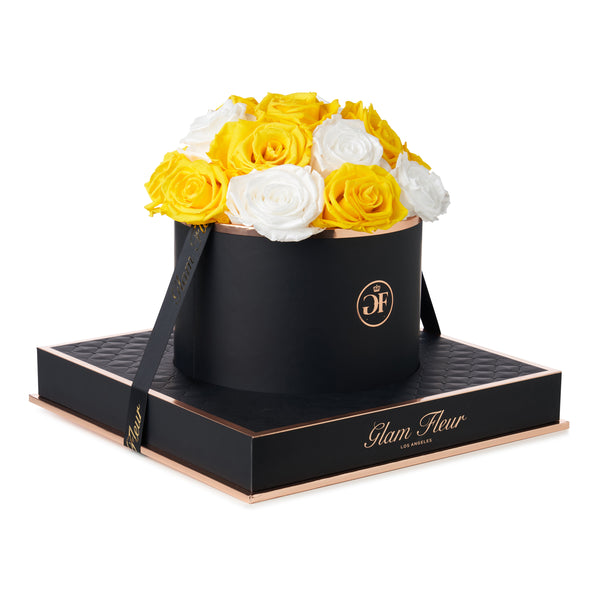 Noir Round Bella White and Golden Yellow Luxury Preserved Roses