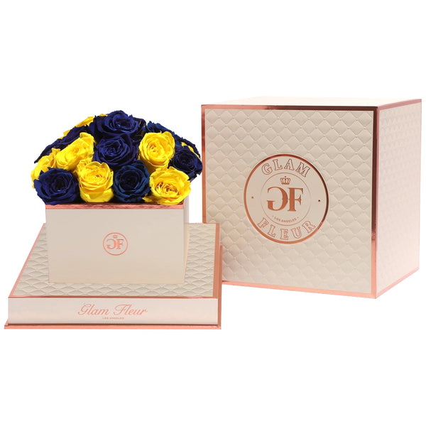 Blue & Yellow Luxury Preserved Roses