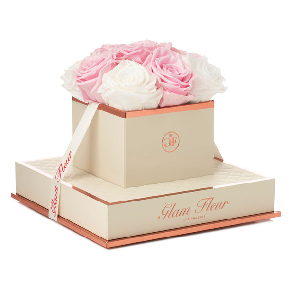 Glow Pink and Glow White Chic Luxury Preserved Roses
