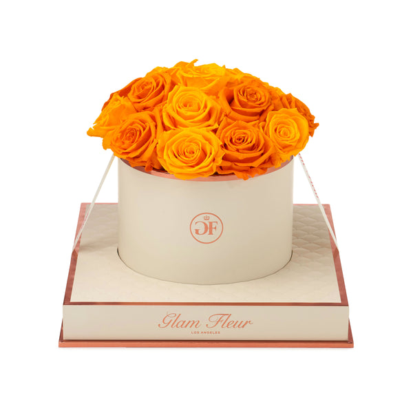 Golden Yellow and Orange Montage Round Luxury Preserved Roses