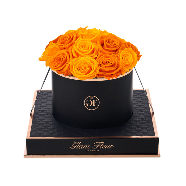 Noir Round Golden Yellow and Orange Luxury Preserved Roses