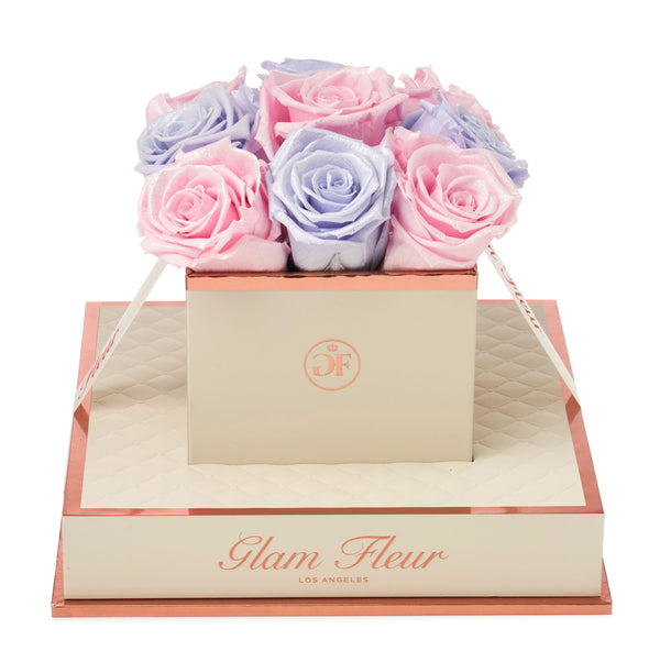 Montagé Chic Glow Lavender and Glow Pink Preserved Roses
