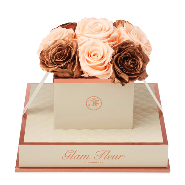 Montagé Chic Metallic Copper and Peach Preserved Roses