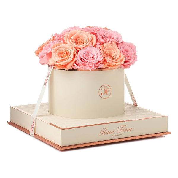 Montagé Round Light Pink and Peach Preserved Roses