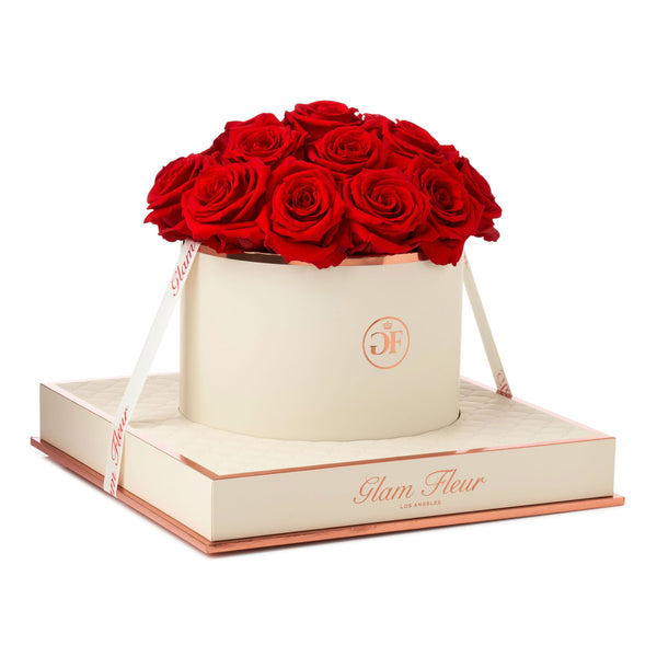 Montagé Round Light Red Preserved Roses
