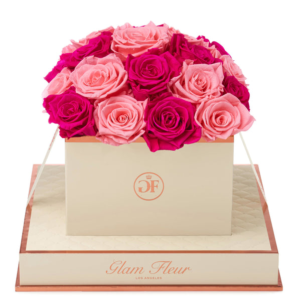 Montagé Square Fuchsia and Light Pink Preserved Roses