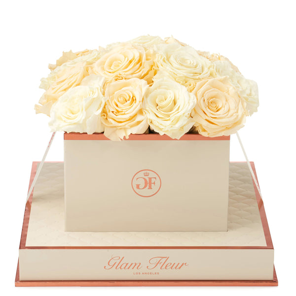 Montagé Square Ivory and Creme Preserved Roses