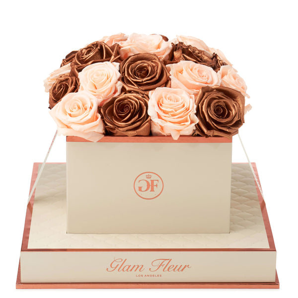 Montagé Square Peach and Metallic Copper Preserved Roses