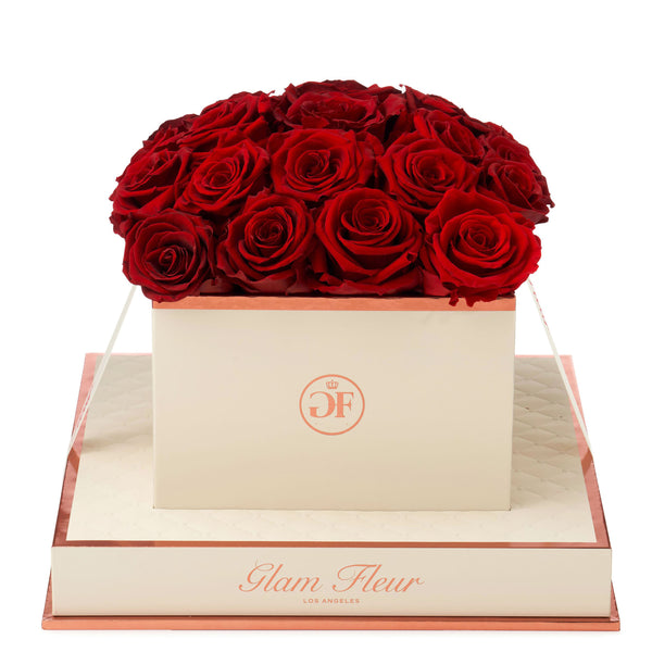 Montagé Square Red Preserved Roses