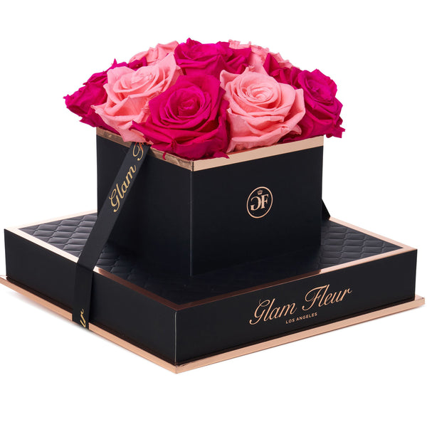 Noir Chic Fuchsia and Light Pink Preserved Roses