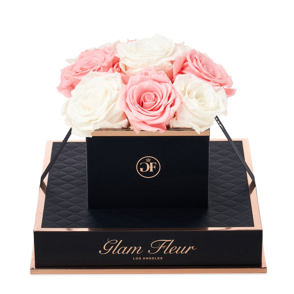 Noir Chic Ivory and Light Pink Preserved Roses