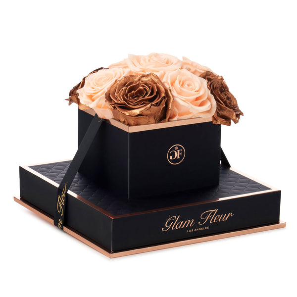 Noir Chic Metallic Copper and Peach Preserved Roses