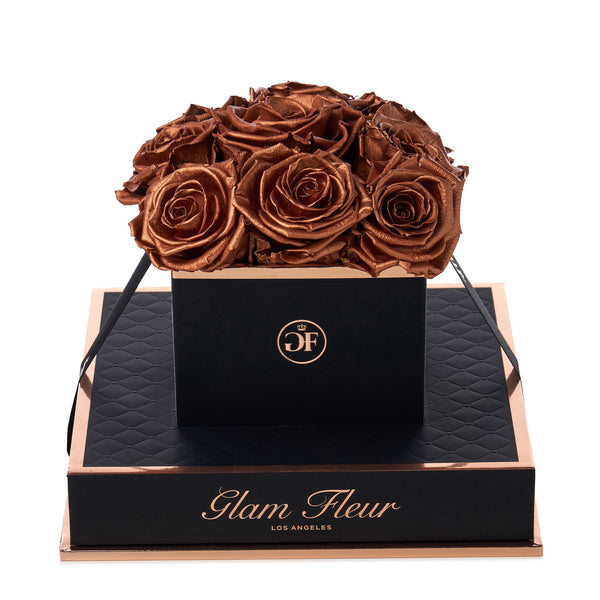 Noir Chic Metallic Copper Preserved Roses