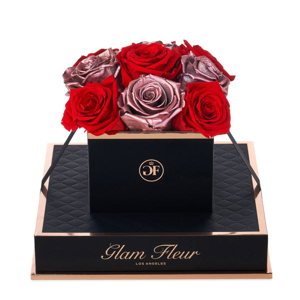 Noir Chic Metallic Vintage and Light Red Preserved Roses